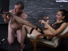 She hates her slave's dirty useless cock but his tongue is quite alright