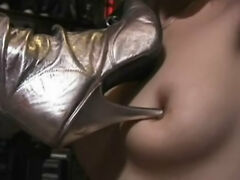 Mistress torture lesbian slaves tits with her sharp heels